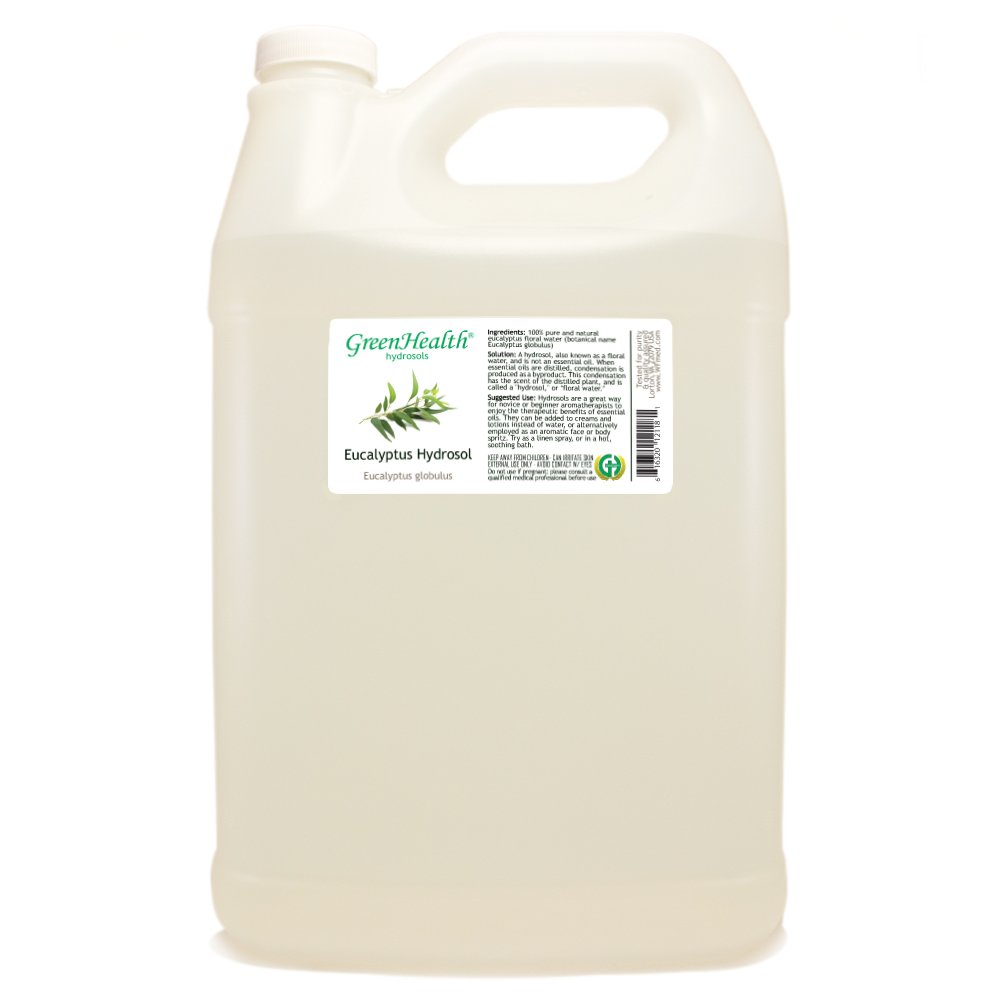 Eucalyptus Hydrosol - 1 Gallon Plastic Jug w/Cap - 100% pure, distilled from essential oil by GreenHealth