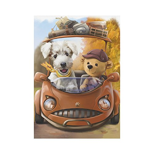 InterestPrint Little Dog and Bear Drive Car Polyester Garden
