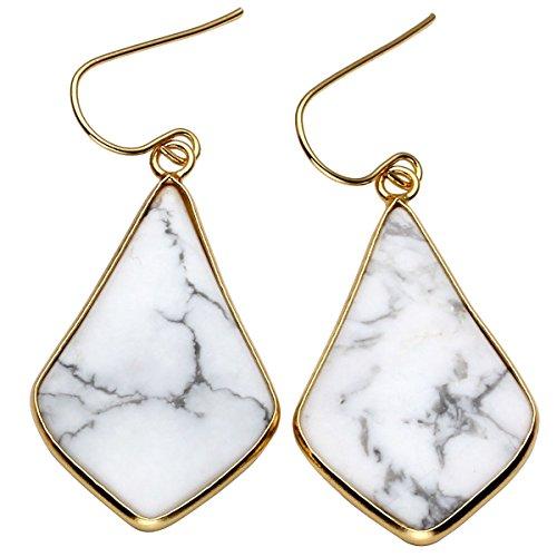 Top Plaza Womens Fashion Natural Gemstone Oval Rhombus Ear Hook Water Drop Ear Pendant Dangle Earring(Rhombus White Turquoise)