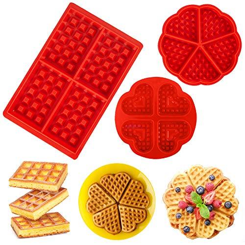 FuJiaXin 3 stks Wafel Silicone Baking mallen, Muffin pan Non-Stick Baking Mold Vorm Mini Hart Vorm en Vierkant