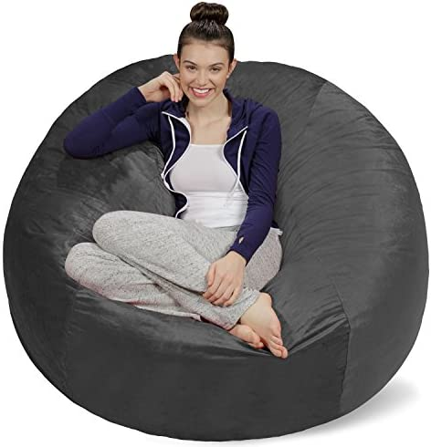 Sofa Sack – Plush Ultra Soft Bean Bags Chairs for Kids, Teens, Adults – Memory Foam Beanless Bag Chair with Microsuede Cover – Foam Filled Furniture for Dorm Room – Charcoal 5