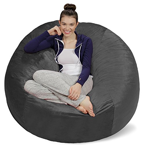 (Sofa Sack - Plush Ultra Soft Bean Bags Chairs for Kids, Teens, Adults - Memory Foam Beanless Bag Chair with Microsuede Cover - Foam Filled Furniture for Dorm Room - Charcoal 5')