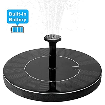 JOEAIS Solar Fountain Pump, Upgraded 1.5W Free Standing Small Bird Bath Fountain Pump with Battery Backup, for Garden, Patio and Small Pond, Works 2 Hours in NOT Direct Sunlight