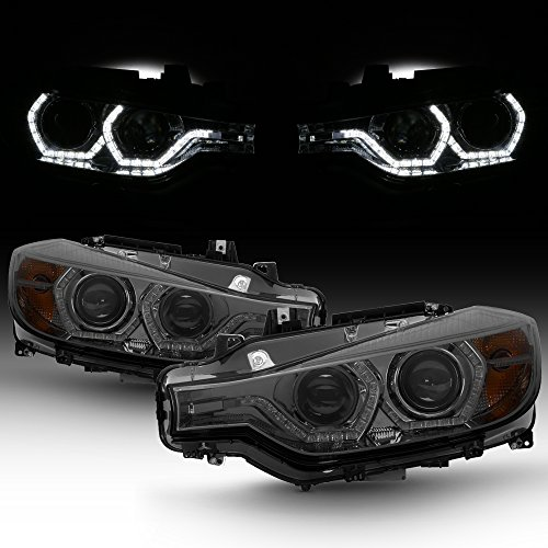 For BMW F30 3-Series 4 Doors Sedan Smoked Lens Factory Halogen Type Dual U-Halo Ring LED Projector Headlights