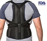 Posture Corrector Clavicle and Lower Back Support - Deluxe, Comfortable Back and Shoulder Brace for Men and Women - Medical Device to Improve Bad Posture, Spine Posture, Hunchback, Aches and Pain