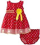Blueberi Boulevard Baby-girls Newborn Dots and Daisies Sundress, Red, 6-9 Months image