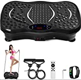 POPSPORT Vibration Plate Platform Full Body Exercise 350Lbs LCD 3 Levels Massage Remote Bluetooth USB Music Intelligent Watch Fitness Machine