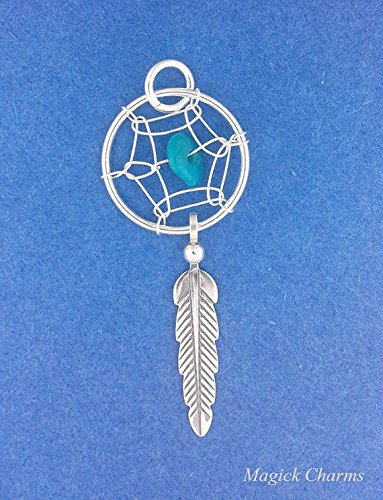 925 Sterling Silver Dreamcatcher Feather Turquoise Native American Charm Jewelry Making Supply, Pendant, Charms, Bracelet, DIY Crafting by Wholesale Charms