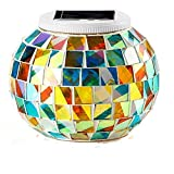 MUEQU Solar Mosaic Garden Lights, Color Changing Crystal Glass Globe Ball Night Lights, Solar Table Lamps LED Magic Lights Decorative for for Home, Garden,Yard, Patio, Party, Christmas (Color)