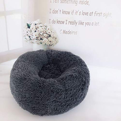 XIAJIE Pet Bed, Fluffy Luxe Soft Plush Round Cat and Dog Bed, Donut Cat and Dog Cushion Bed, Self-Warming and Improved Sleep, Orthopedic Relief Shag Faux Fur Bed Cushion (Deep Gray, 60) (Dog Cheap Cushions)