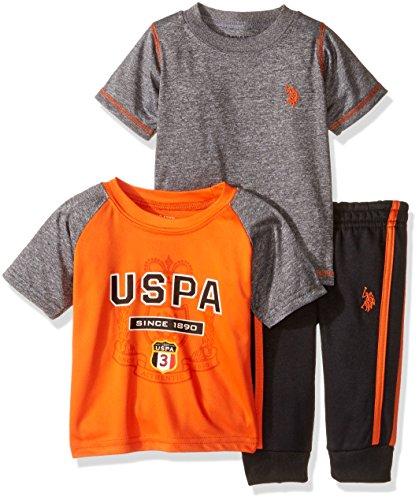 U.S. Polo Assn. Boys' Raglan T-Shirt, Spaced Dyed T-Shirt and Fleece Jog Pant, Orange, 12M