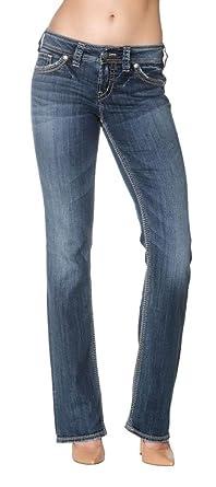 Amazon.com: Silver Jeans Women's Suki 17 Bootcut Jeans Flap Pocket ...