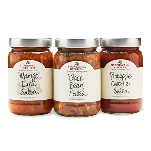 Stonewall Kitchen Salsa Collection Including 16 Ounce Jars of Mango Lime, Pineapple Chipotle and Black Bean Salsas