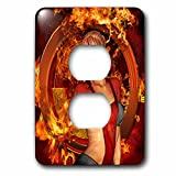 3dRose Heike Köhnen Design Fantasy - The wonderful fire women with fire on the background - Light Switch Covers - 2 plug outlet cover (lsp_262383_6)