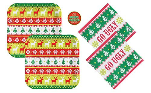 Ugly Christmas Sweater Party Supplies Pack - Plates, Napkins, Award Sticker (Plates/Napkins/Sticker Only - Serves 24)]()