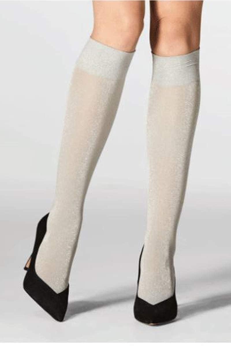Mondor 5179 Pearl Gray Knee Highs w//Lurex