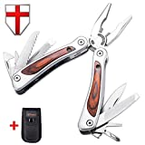 Multitool with Knife and Pliers - Utility Mini Tool with Wood Handle - Compact Set of Tools - Grand Way 59027
