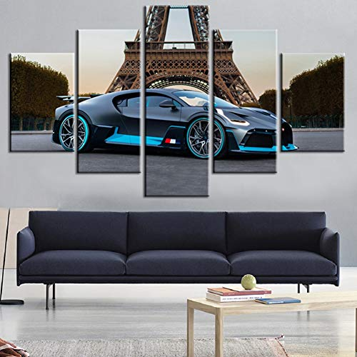Wall Art Canvas Paintings Printed On Non Woven 5 Pieces, Black-Bugatti-Divo Supercar Poster - Sport Vehicle Home Decorative,A,20×35×220×45x220x55×1