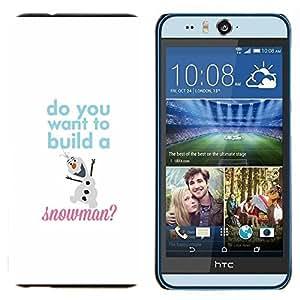 EJOOY---Cubierta de la caja de protección para la piel dura ** HTC Desire Eye M910x ** --Invierno Texto Blanco Sudadera con niños