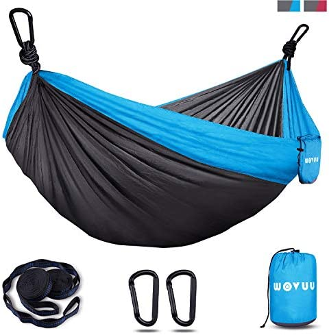 WOVUU HammockCamping Hammock Double & Single for Tree Travel Portable Lightweight HammockTree StrapsCarabinersParachute Nylon Hammocks for CampingTraveling BackpackingHiking (Gray&Blue)