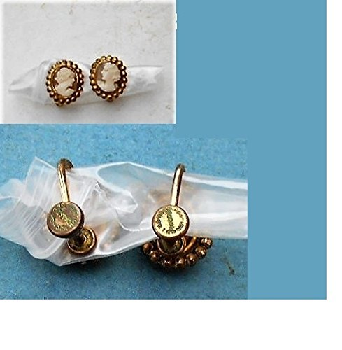 e4f59778f Amazon.com: Teeny Tiny CAMEO EARRINGS Beautiful Vintage Gold Filled Hand  Carved Shell Cameo Screw Back, Facing Pair. Excellent Dainty Carvings!:  Handmade