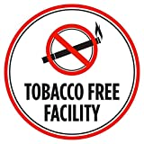 Tobacco Free Facility Red, Black and White Business Commercial Safety Warning Round Sign - 12 Inch, Plastic
