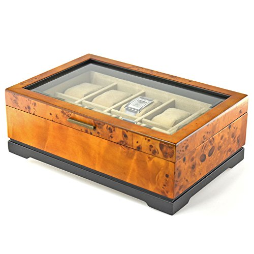 Marlborough Wood Valet And Display Watch Case Dimensions 4''H x 12.75''W x 9''W by Bombay Brand
