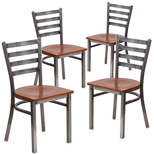 (Flash Furniture 4 Pk. HERCULES Series Clear Coated Ladder Back Metal Restaurant Chair - Cherry Wood Seat)