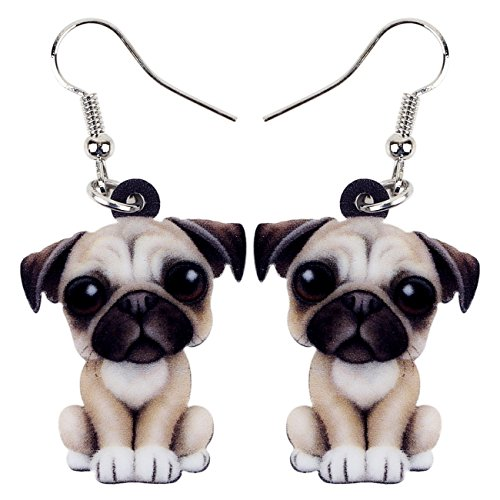 NEWEI Drop Acrylic French Bull Pug Dog Big Long Dangle Earrings Fashion Animal Jewelry For Girl Women