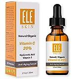 ELE SKIN Vitamin C 20% Serum by ELESKIN USA - Best Anti Aging Clinical Strength, Youthful Skin, Radiant Glow, Heal Sun Damage, Fade Age Spot, Wrinkles and Fine Lines, Stimulate Collagen 1 FL OZ/30 ML
