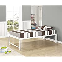 Kings Brand Furniture Twin Size Heavy Duty Metal Platform Bed Frame, White