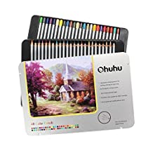 Ohuhu 72-color Colored Pencil/ Drawing Pencils in Tin Case for Sketch, Adult's Coloring Book