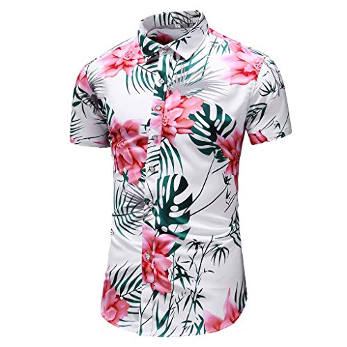 Street Shirt Hawaiian ( Eruption_X  Men's Big & Tall Hawaiian Aloha Shirt Tropical Floral Print Button Down Shirt Short Sleeve Shirt White)