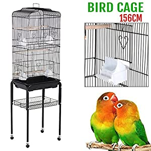 "Yaheetech 62"" Rolling Bird Cage Parrot Finch Aviary Pet Perch w/Stand Black"