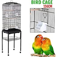 """Yaheetech 62"""" Rolling Bird Cage Parrot Finch Aviary Pet Perch w/Stand Black"""