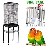 Yaheetech 62'' Rolling Bird Cage Parrot Finch Aviary Pet Perch w/Stand Black