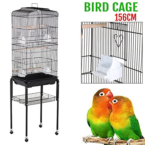 Yaheetech 62'' Rolling Bird Cage Parrot Finch Aviary Pet Perch w/Stand Black by Yaheetech