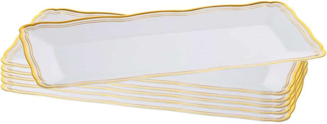 Plastic Serving Tray | White Rectangular Serving Trays With Gold Rim Border, Disposable Heavyweight Serving Party Platters, 13.75