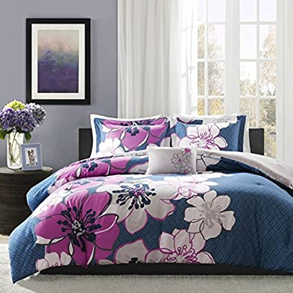 4 Piece Girls Blue Purple Grey Floral Theme Comforter Full Queen Set, Pretty  Abstract Flower