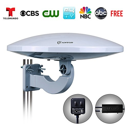 ANTOP PL-414BG UFO 360 Degree Amplified Outdoor/Attic HD TV Antenna with Built-in 4G LTE Filter-65 Mile Long Range Omni-directional Home/RV TV Antenna-4K UHD - Definition Is Polarization Of What The