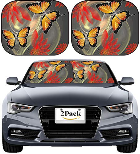 MSD Car Sun Shade Windshield Sunshade Universal Fit 2 Pack, Block Sun Glare, UV and Heat, Protect Car Interior, Image ID: 33532897 Phantasy Composition with Butterflies and Flowers on Fractal backgro