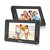 "NAVISKAUTO 10.1"" Portable DVD Player Dual Screen Car Headrest for Kids with USB/SD Card Reader and 5 Hours Rechargeable Battery (Play One DVD or Two Different DVDs Simultaneously)"