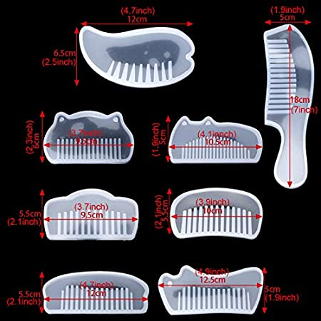 Comb FineInno 8 Packs Resin Silicone Comb Molds DIY Casting Mold Epoxy Resin Molds