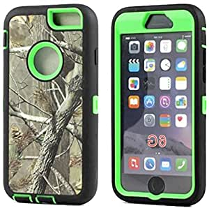 """myLife Hybrid Shock Absorbing {Built In Screen Protector} Case for iPhone 6 (6G) 6th Generation Phone by Apple, 4.7"""""""" Screen Version {Citrus Green + Onyx Black """"""""Forest Design"""""""" Hybrid Three Piece with Layered Flex Gel SECURE-Fit Armor}"""