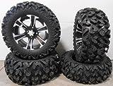 Bundle - 9 Items: ITP SS312 14'' Wheels Black 26'' Rip Saw Tires [4x110 Bolt Pattern 10mmx1.25 Lug Kit]