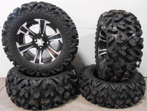 "Price comparison product image Bundle - 9 Items: ITP SS312 14"" Wheels Black 26"" Rip Saw Tires [4x115 Bolt Pattern 10mmx1.25 Lug Kit]"