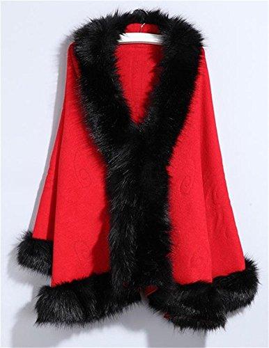 Chal su¨¦ter Cabo FOLOBE Blanco Faux del Fox Nupcial del Floral Mujeres Capa Rojo Capa Fur 4SFz4