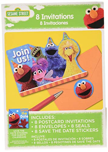Amscan Postcard Invitations | Sesame Street Collection | Party Accessory