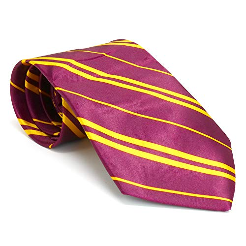 Skeleteen Maroon and Gold Tie - Wizard Costume Accessories Dress Up Ties - 1 Piece ()