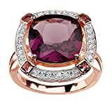 Seta Jewelry Cushion-Cut Simulated Amethyst & CZ Rose Gold-Plated .925 Silver Halo Ring